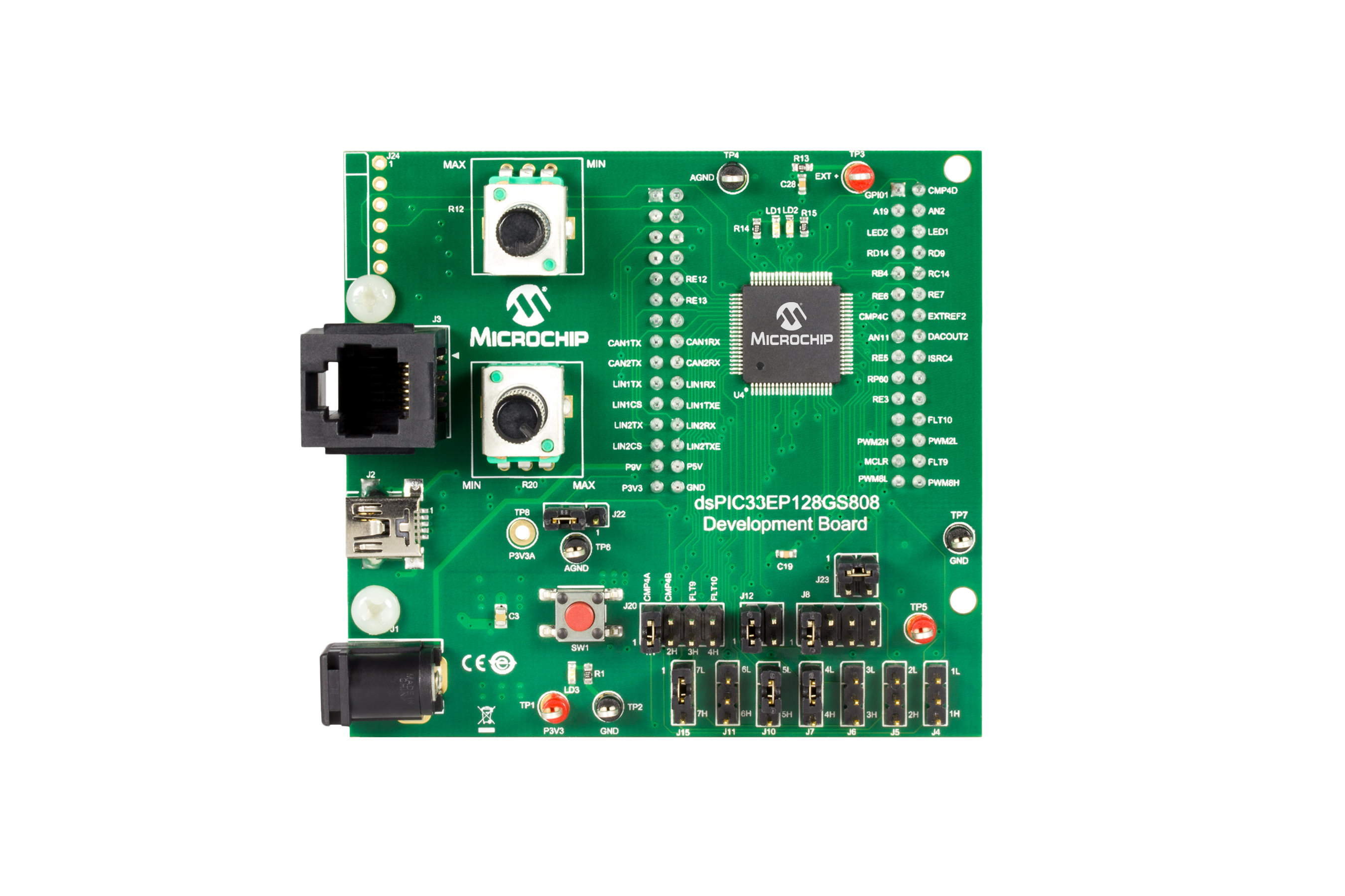Development Tools Smps Board Tablet Circuit The Dspic33ep128gs808 Consists Of A 80 Pin Microcontroller For Operating On Standalone Basis Or Interfacing With Can Lin J2602 Pictail