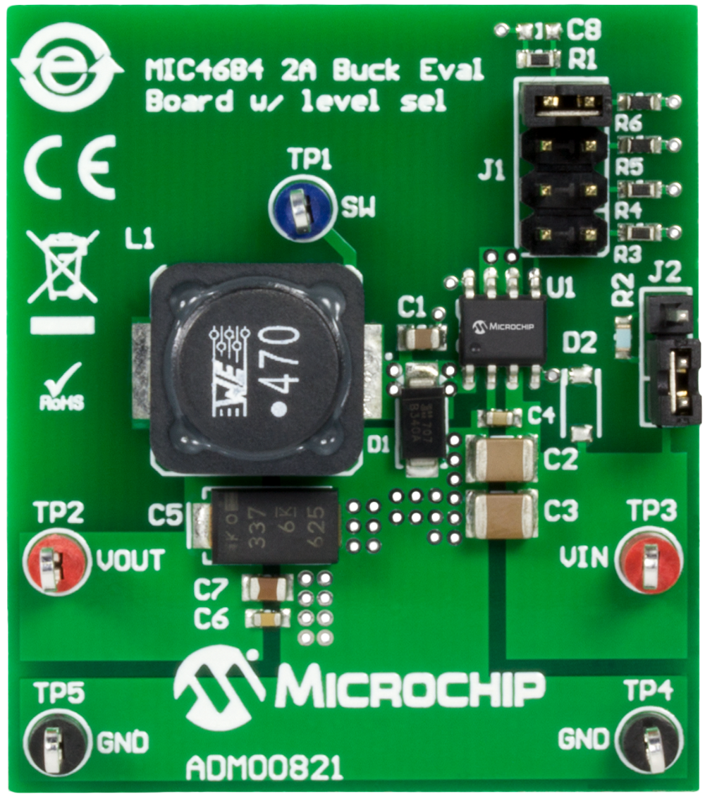 Development Tools Supply 5v Vcc And 12v To 30v Input Led Driver Application Circuits The Mic4684 2a Buck Eval Board W Level Sel Allows Evaluation Of Which Is A Step Down Converter With Maximum Voltage