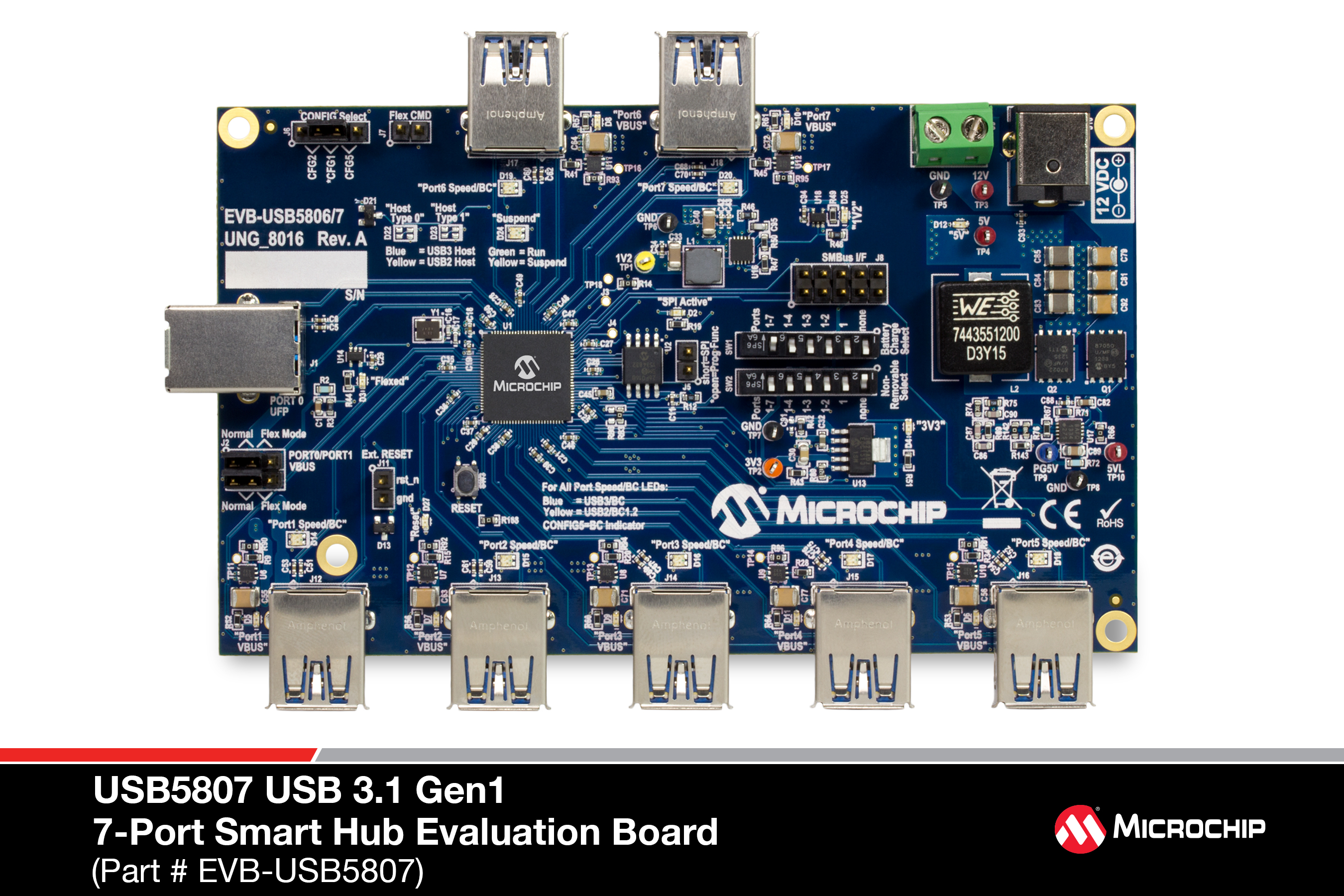 Development Tools Usb Interface Schematic Necessary Requirements And Options For Evaluating The Usb5807a 7 Port Ss Hs Smart Hub On A 4 Layer Rohs Compliant Printed Circuit Board