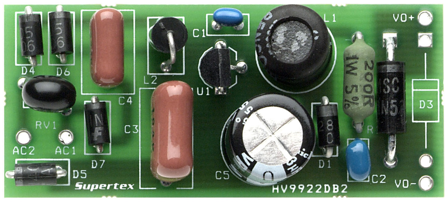 Development Tools Watt 5 Led Dc To Constant Current Driver Circuit Wiring The Hv9922db2 Is A Universal Input Offline Non Isolated Auxiliary Power Supply Using Hv9922 Switching Regulator Ic