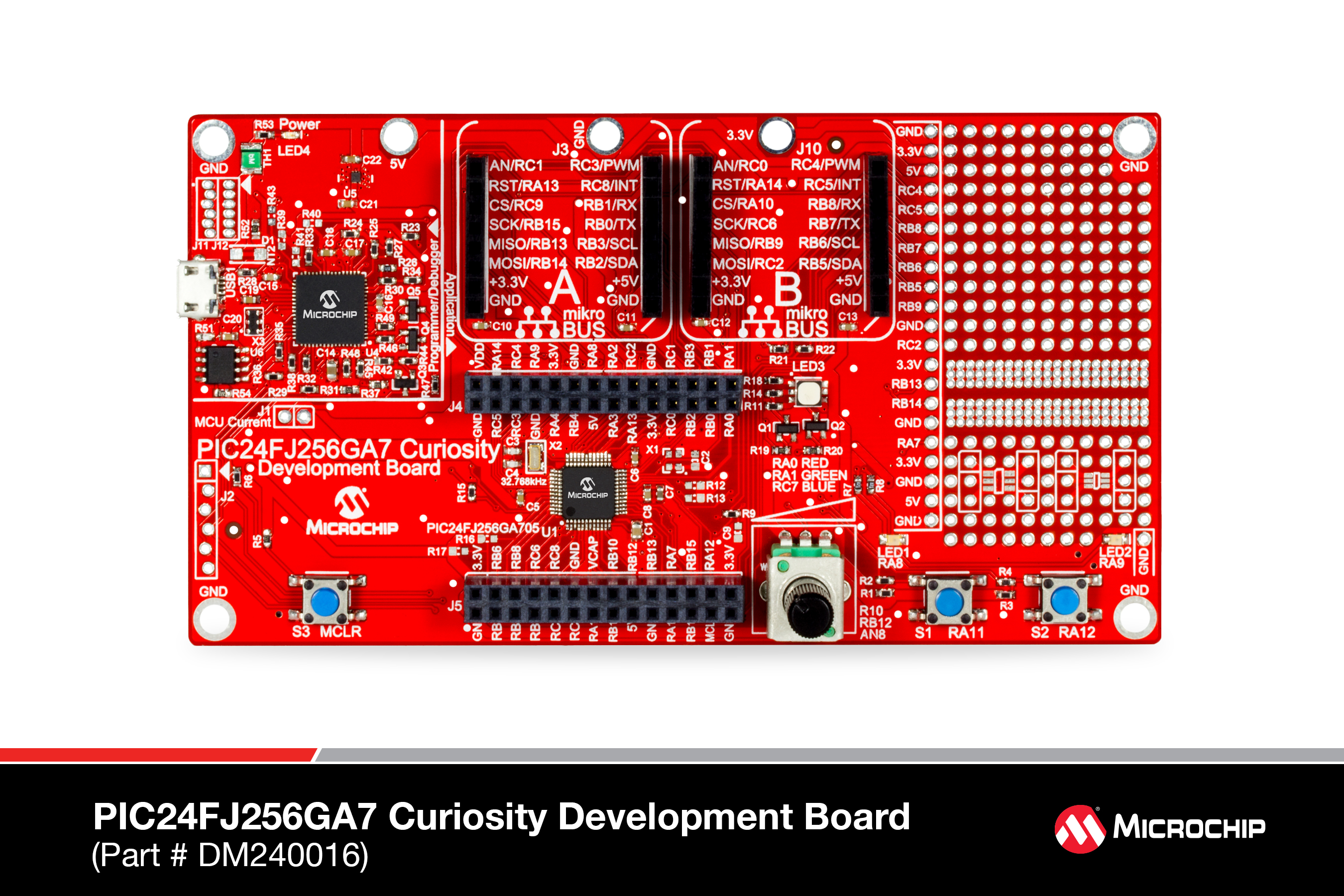 Development Tools Notebook Ide Interface Cdrom To Usb External Drive Circuit Boardred The Pic24fj256ga7 Curiosity Board Is A Cost Effective Fully Integrated 16 Bit Platform Targeted At First Time Users Makers