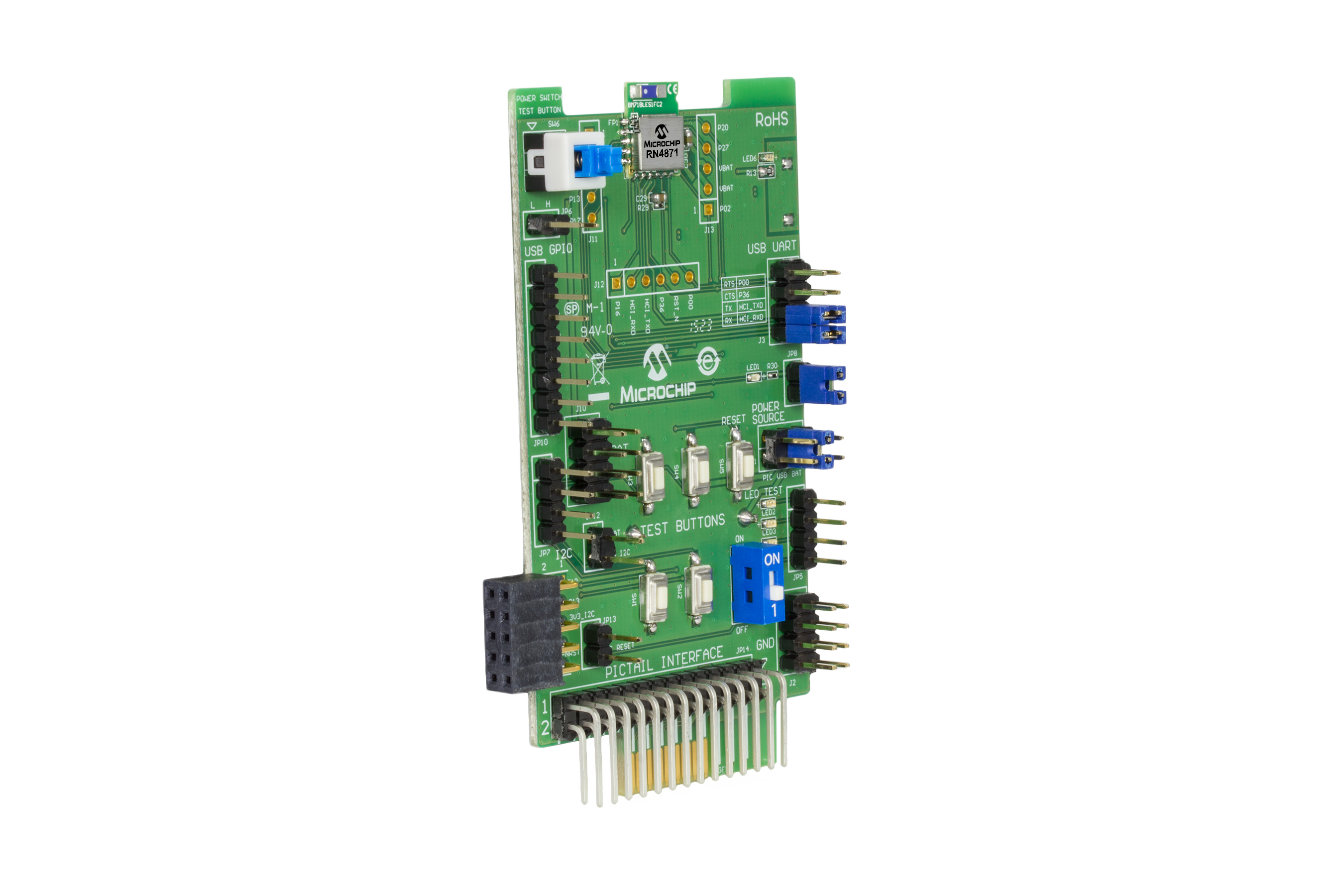 Development Tools Or Photo Of Computer Electronic Circuit Cpu Board Breaking Binary Code The Rn 4871 Pictail Is A Based On Ultra Compact Bluetooth 42 Low Energy Rn4871 Module Uses Simple Ascii Command