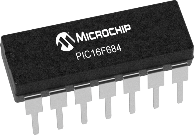 Image result for pic16f684 14 pin microcontroller""