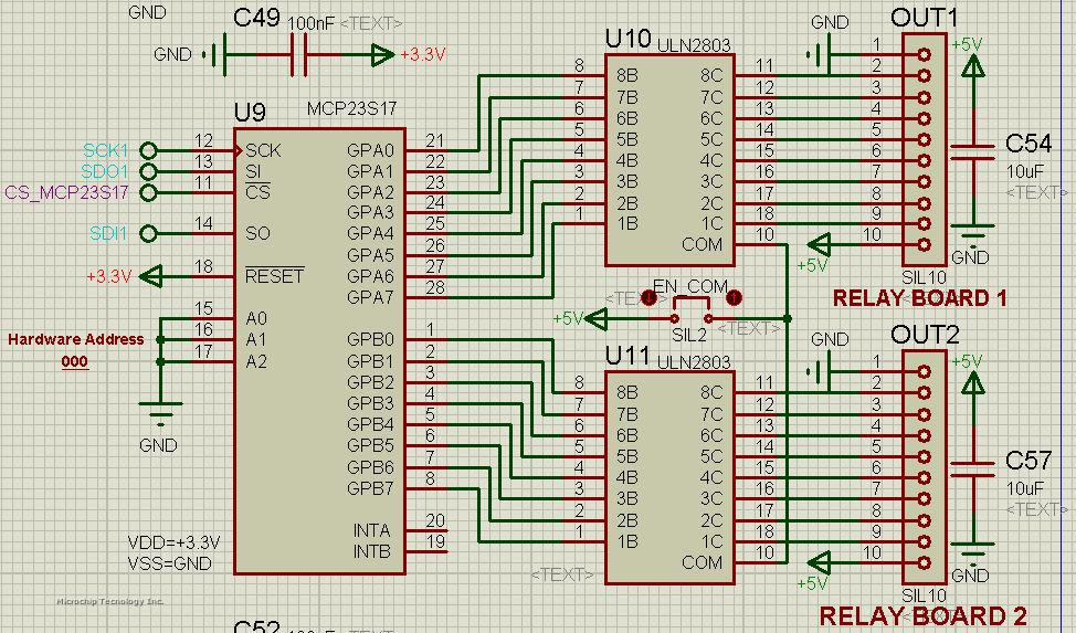 MCP23S17 drives ULN2803 for 5V relays ? | Microchip on max232 schematic, lm317 schematic, relay driver circuit schematic, abb robot schematic,