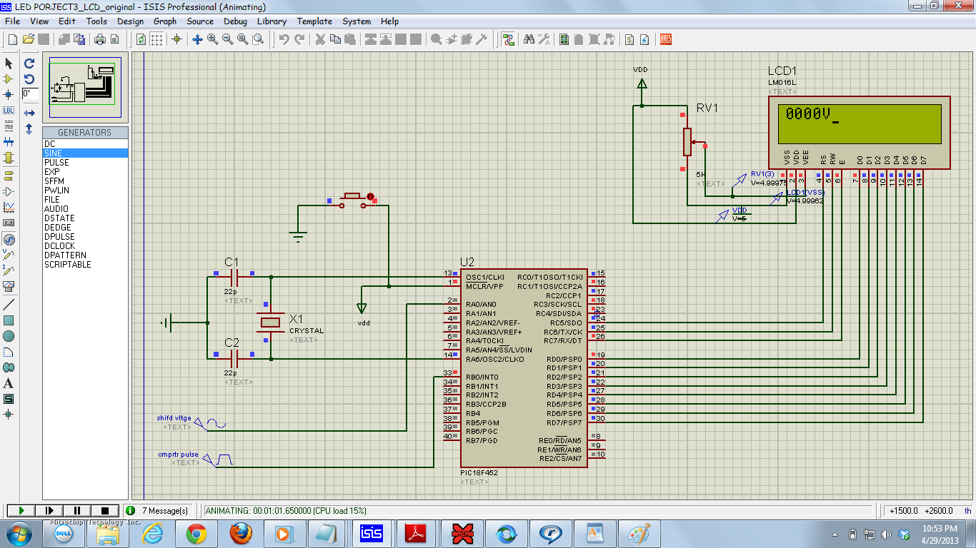 Lcddisplay Using C18 Adc Vrms Calculation Of Input Sine Wave Proteus Circuit Simulation Attached Images