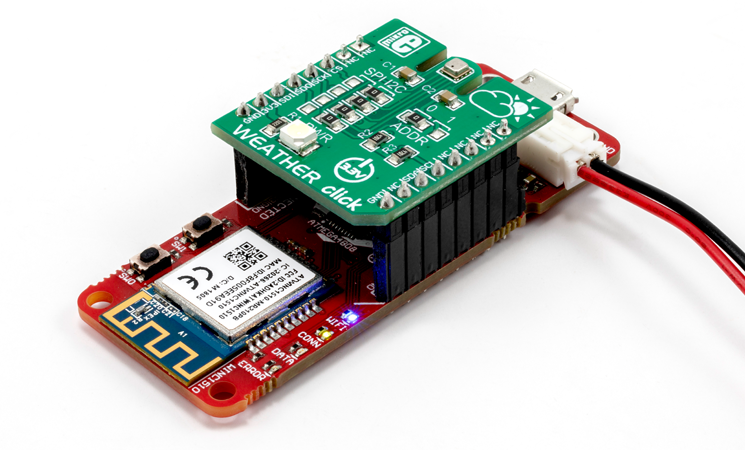 avr iot weather click board in use