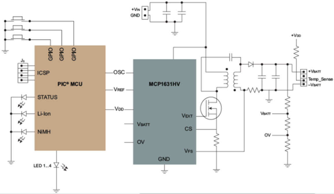 Intelligent Battery Charger for NiMH/Li-Ion Block Diagram